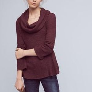 Anthropologie Maroon Waffle Cowl Neck Sweater